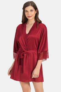 Buy Amante Beautiful Dreamer Satin Robe - Henna