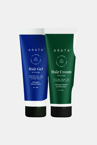 Buy Arata Natural Hair Styling Combo with Hair Gel(50 Ml) & Hair Cream(50 Ml) for Men & Women || All Natural,Vegan & Cruelty Free || For Nourishing ,Styling & Strong Hold