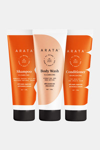 Buy Arata Natural Shower Power Set For Men & Women With Cleansing Shampoo (75Ml), Body Wash (75ml) & Hair Conditioner (75ml) || All-Natural, Vegan & Cruelty-Free || Plant-Based, Non-Toxic Bath