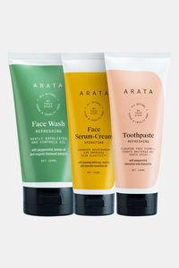 Buy Arata Essential Morning Regime With Facewash, Face Serum-Cream & Toothpaste for Men & Women || All Natural, Vegan & Cruelty-Free || Minty Fresh Breath || Radiant, Healthy Skin
