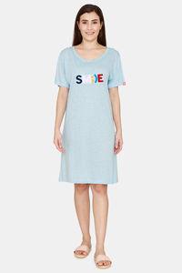 Buy Evolove Women's Cotton Blended Night Dress - Turqoiuse Melange