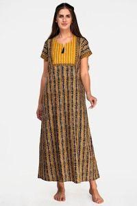 Buy Evolove Women's  Cotton Full Length Nighty - Black