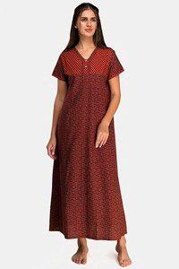 Buy Evolove Women's  Cotton Full Length Nighty - Red