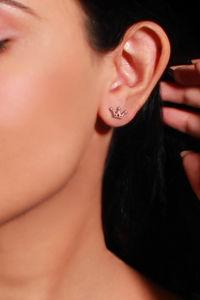 Buy Giva 925 Sterling Silver Rose Gold Plated  Tiara Stud Earrings