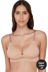 Buy InnerSense Organic Cotton Double Layered Wirefree Removable Cookie Pretty Back Bra - Skin