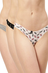 Buy Leading Lady  Everyday Cotton Low-Rise Printed Thongs Multi Pack Of 3