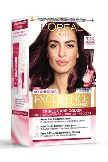 L #x27;Oreal Paris Excellence Creme Hair Color, 3.16 Burgundy   72 Ml + 100 G