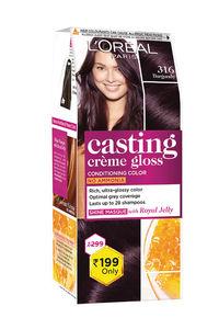 Buy L'Oreal Paris Casting Crème Gloss Small Pack, 316 Burgundy - 45 G