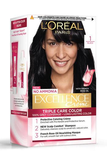 L #x27;Oreal Paris Excellence Creme Hair Color, 1 Black   72 Ml + 100 G