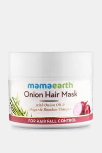 Buy Mamaearth Onion Hair Mask For Dry & Frizzy Hair Controls Hairfall and Boosts Hair Growth With Onion & Organic Bamboo Vinegar                 200 ML (Pack of 1) - White