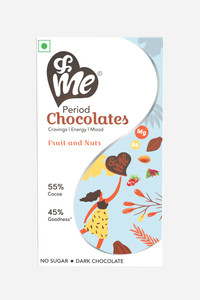 Buy &Me Period Chocolate For Women Wellness With  55% Rich Cocoa, Vegan, Sugar Free, For Period Pain, Mood Swings, Energy Boost, With Crunchy Fruit & Nuts Flavour- 48 g