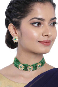 Buy Peora Gold Plated Kundan Pearl Floral Choker Necklace Earrings Traditional Jewellery Set(PF37N228G)