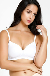 Buy Zivame Padded Non Wired 3/4th Coverage T-Shirt Bra-White