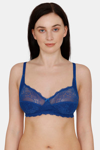 Buy Rosaline Everyday Single Layered Non Wired 3/4th Coverage Lace Bra -Sodalite Blue
