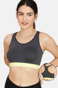 Buy Rosaline Sports Bra With Removable Padding - Anthra Melange