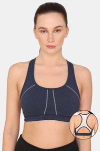 Buy Rosaline Sports Bra With Removable Padding - Harbour Blue Melange