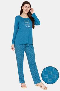 Buy Rosaline Spatial Speckle Knit Cotton Pyjama Set - Blue Sapphire