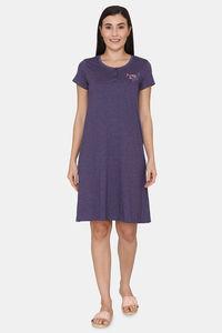 Buy Rosaline Spatial Speckle Knit Cotton Knee Length Nightdress -Blue Ribbon