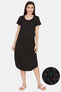 Buy Rosaline Spatial Speckle Knit Cotton Mid Length Nightdress - Black Beauty