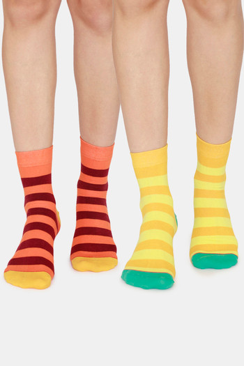 Rosaline Ankle Socks  Pack Of 2    Yellow Stripes Orange Stripes