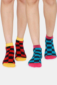 Buy Rosaline Low Cut Socks (Pack Of 2) - Yellow Check Red Check