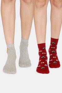 Buy Rosaline Ankle Socks (Pack Of 2) - Grey Maroon