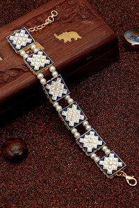 Buy Sukkhi Spectacular Pearl Gold Plated Meenakari Bracelet for Women