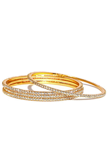 Sukkhi Classy Gold Plated Set Of 4 Austrian Diamond Bangles For Women