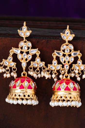 Sukkhi Trendy Pearl Gold Plated Meenakari Kundan Jhumki Earring For Women