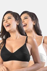 Buy Sonari Kesarnx women's regular Non padded Bra Pack of 2 -Black White