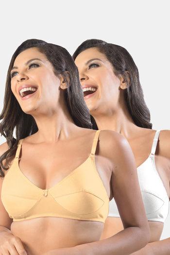 Sonari Kesarnx women #x27;s regular Non padded Bra Pack of 2  Skin White