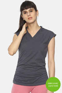 Buy Soul Space Organic Cotton Hugged Fit Wrap Top - Navy Blue