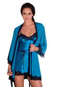 Buy Amante Luxury Silk Robe With Contrast Lace (Without Slip)- Blue