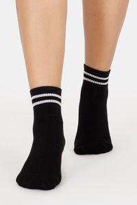 Buy Vrova Antibacterial & Antifungal Acupressure Crew Socks - Black N White