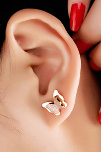 Buy Yellow Chimes Charming Dual Butterfly Surgical Steel 18K Real Rose Gold PlatedStud Earrings