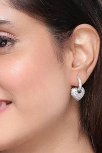 Buy Yellow Chimes Heart Shape Silver-tones Drop Earrings