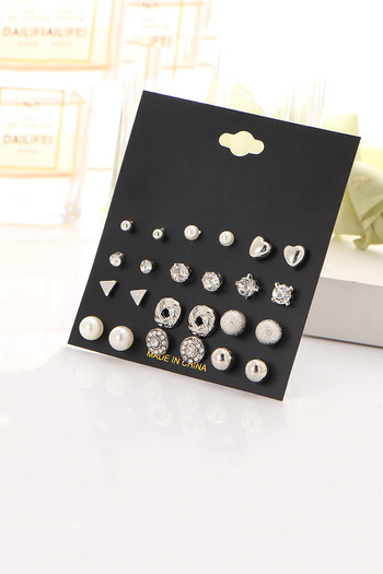 Yellow Chimes Trendy Silver Toned of 12 Pairs Combo Stud Earrings