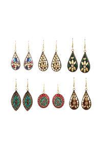Buy Yellow Chimes Combo 6 Pairs Handmade Tibetan Traditional Gold Plated Multicolour Dangler Earrings