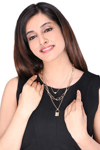 Buy Yellow Chimes Multilayered Golden chain Choker Necklace