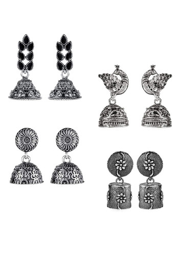 Yellow Chimes 4 Pairs of Stylish Silver Oxidized Designer Traditional Drop Jhumka Earrings