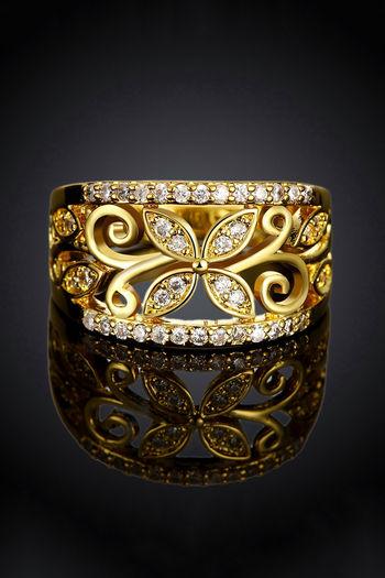 Yellow Chimes Designer Golden Flower Crystal studded Band Style Finger Ring
