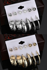 Buy Yellow Chimes  Combo Of 12 Pairs Silver Gold Plated Design Hoop and Stud Earrings