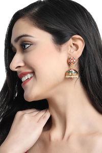 Buy Yellow Chimes 2 Pairs of Carftmanship Work Meenakari Handcrafted Traditional Gold Plated Jhumka/Jhumki Earrings - Assorted