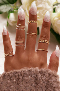 Buy Yellow Chimes Combo of 8 pcs Vintage Style Midi Finger Gold Knuckle Rings Set  - Gold