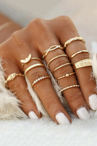 Buy Yellow Chimes Gold Toned 12 Pcs Combo Knuckle Ring Set  - Gold