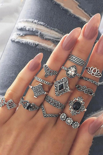 Yellow Chimes Combo 15 Pcs Vintage Silver Knuckle Rings Set   Silver