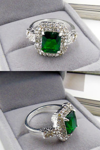 Buy Yellow Chimes Manmade Emerald Square Studded Cubic Zirconia Silver Plated Rings  - Green