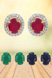 Buy Youbella Stylish Party Wear Jewellery Gold Plated Studs Earrings For Women (Multi-Colour)(6 In 1 Oval)