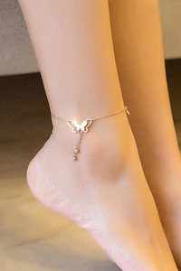 Buy YouBella 18k Rose Gold Plated Butterfly Anklet for Women and Girls