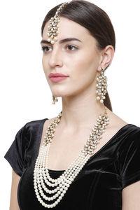Buy YouBella Stylish Latest Traditional Jewellery Pearl Jewellery Set for Women (White)(YBNK_5523)